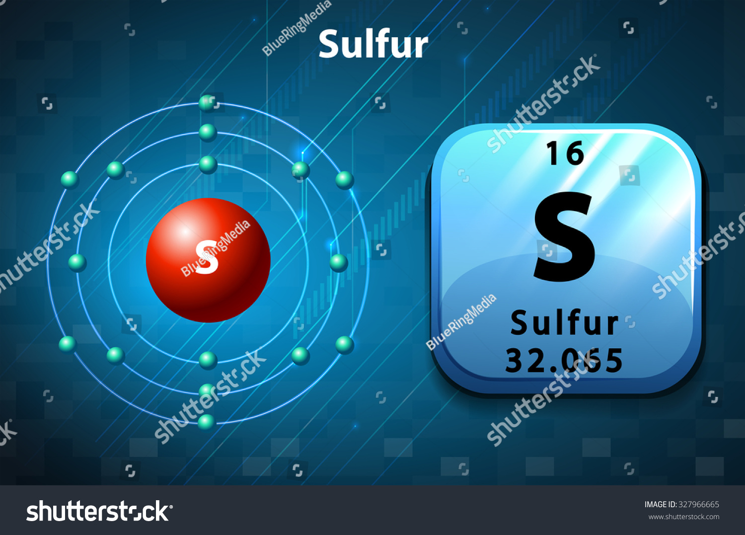 hight resolution of symbol and electron diagram for sulfur illustration