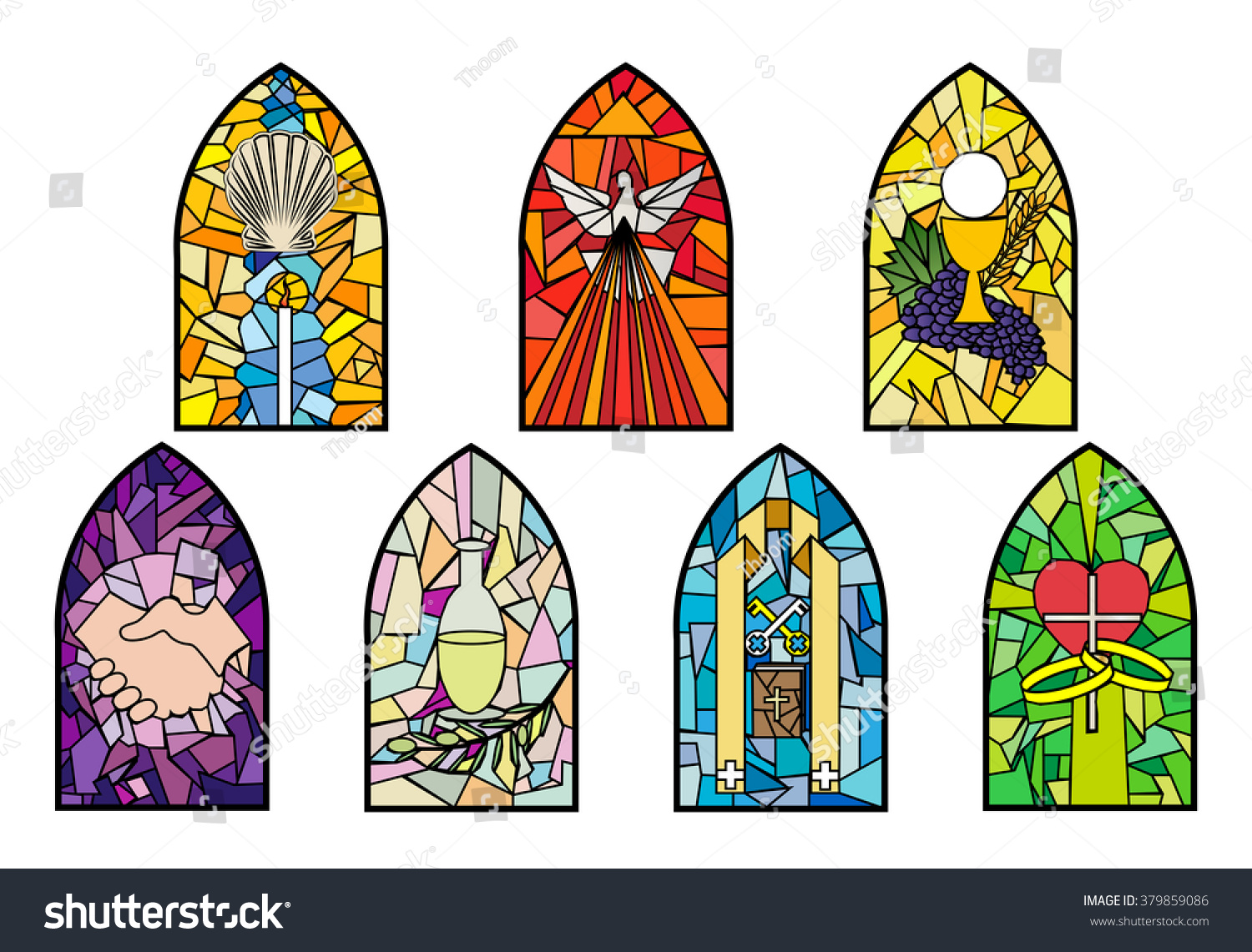 Symbols Seven Sacraments Catholic Church On Stock Vector