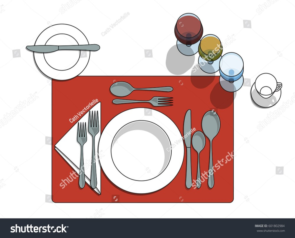 medium resolution of table setting diagram with eating utensils cups placemat