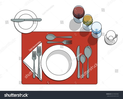 small resolution of table setting diagram with eating utensils cups placemat