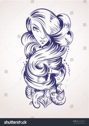 tattoo design nice face long curly