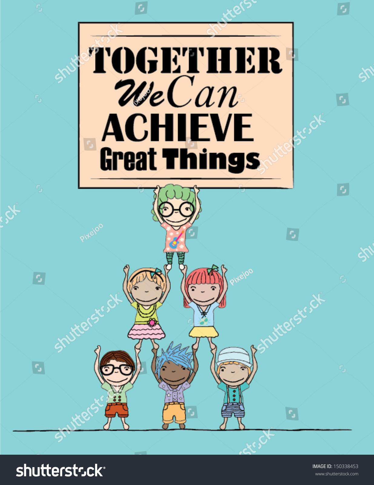 Teamwork Poster Kids Illustration Stock Vector