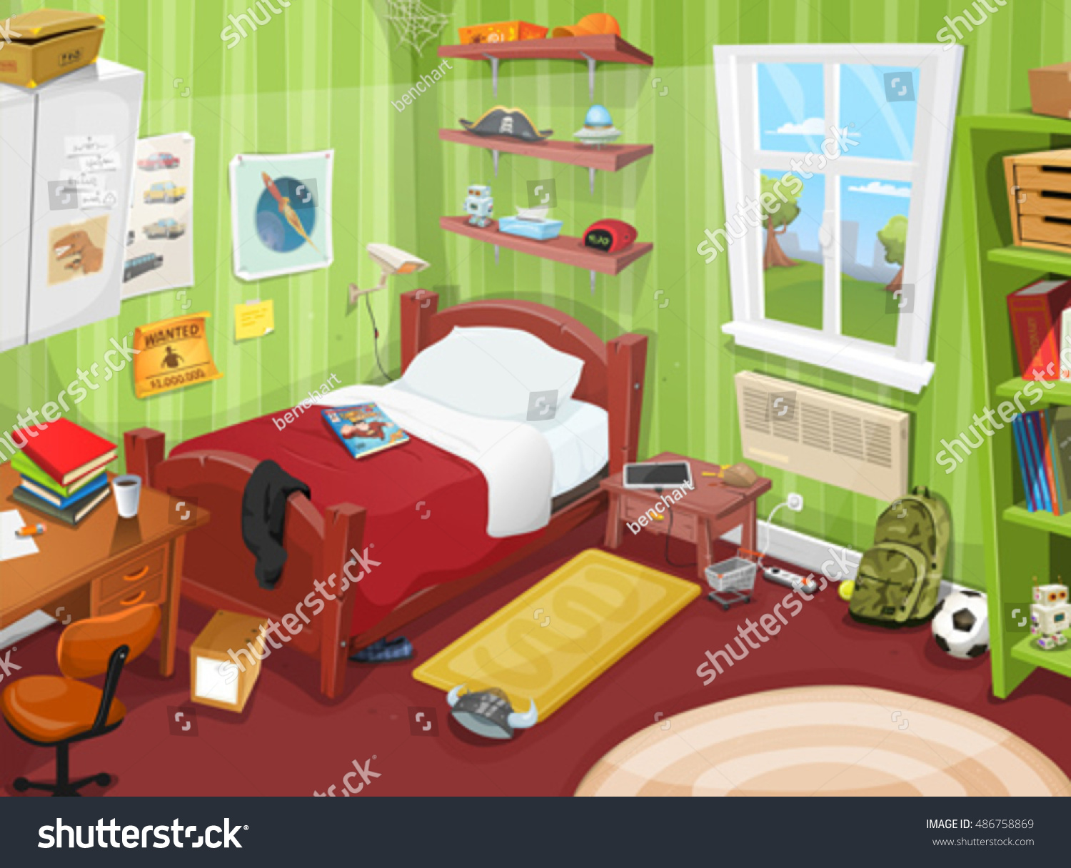 Teenager Bedroom Object Illustration Cartoon Kid Teenager