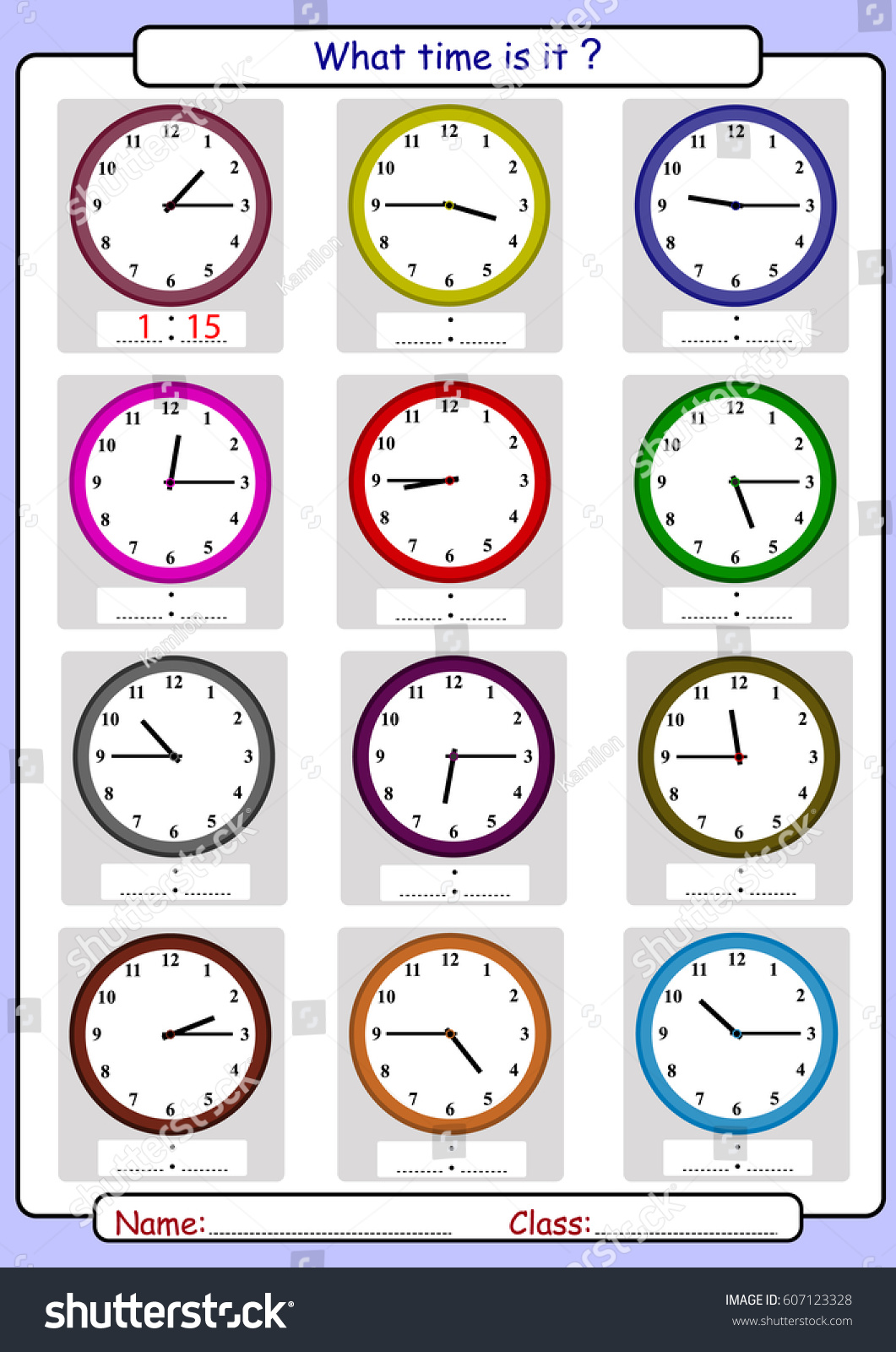 Telling Time What Time Stock Vector