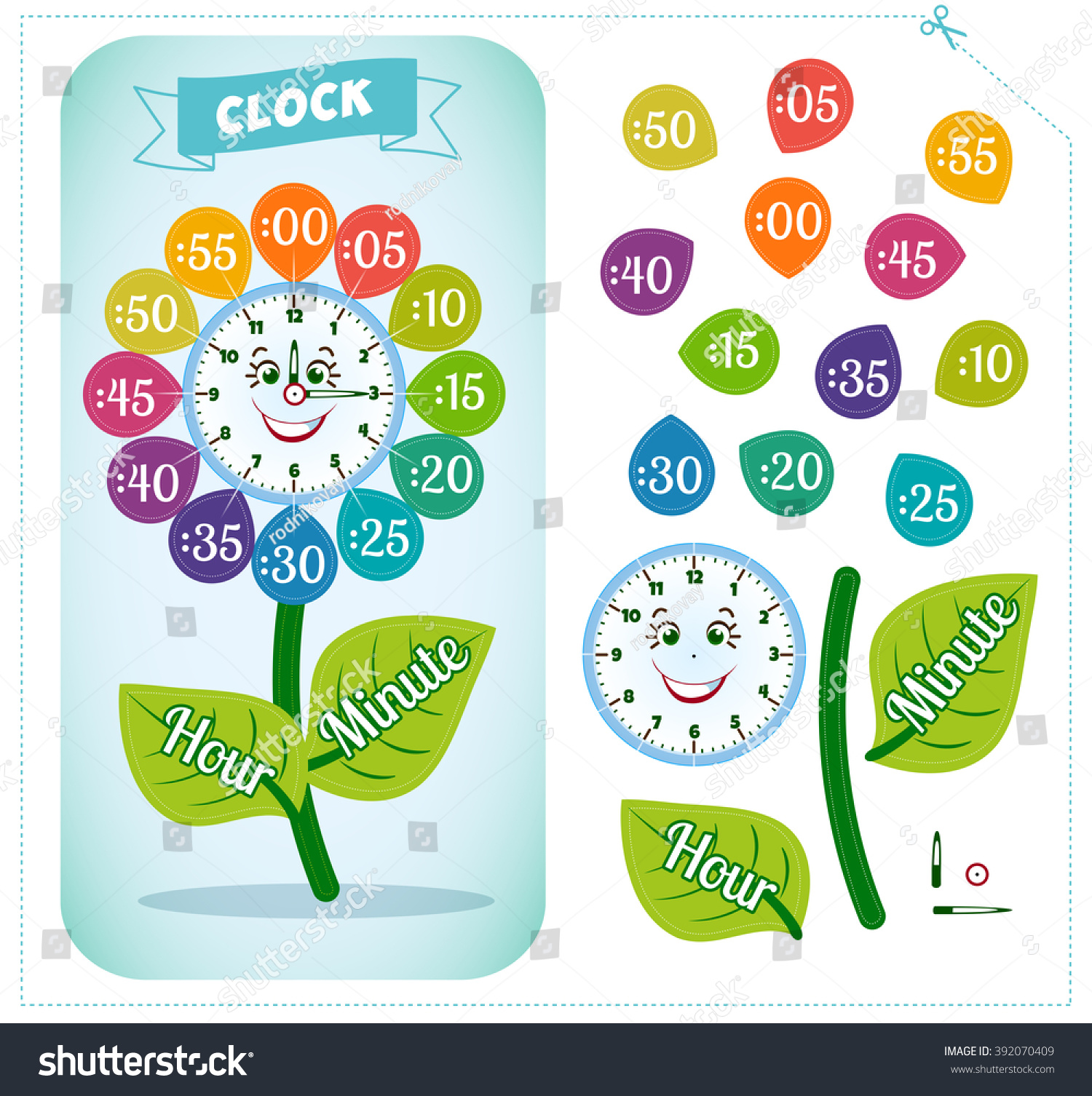 Telling Time Worksheet School Kids Identify Stock Vector