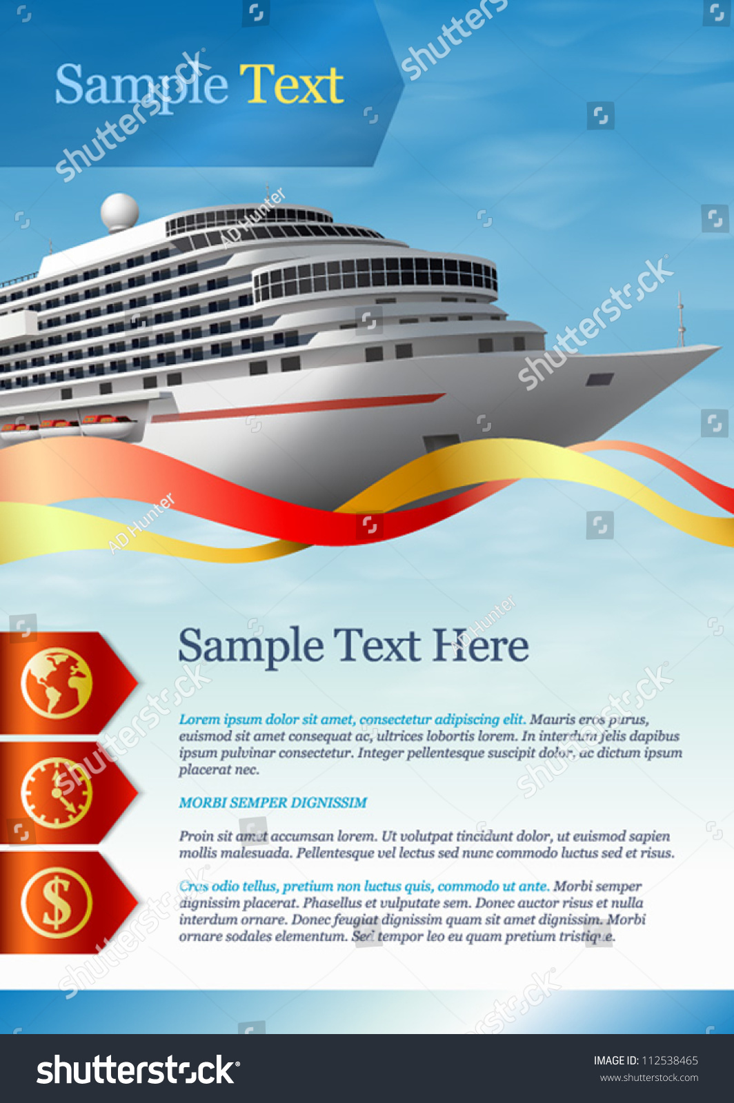Template Advertising Cruise Liner Stock Vector 112538465