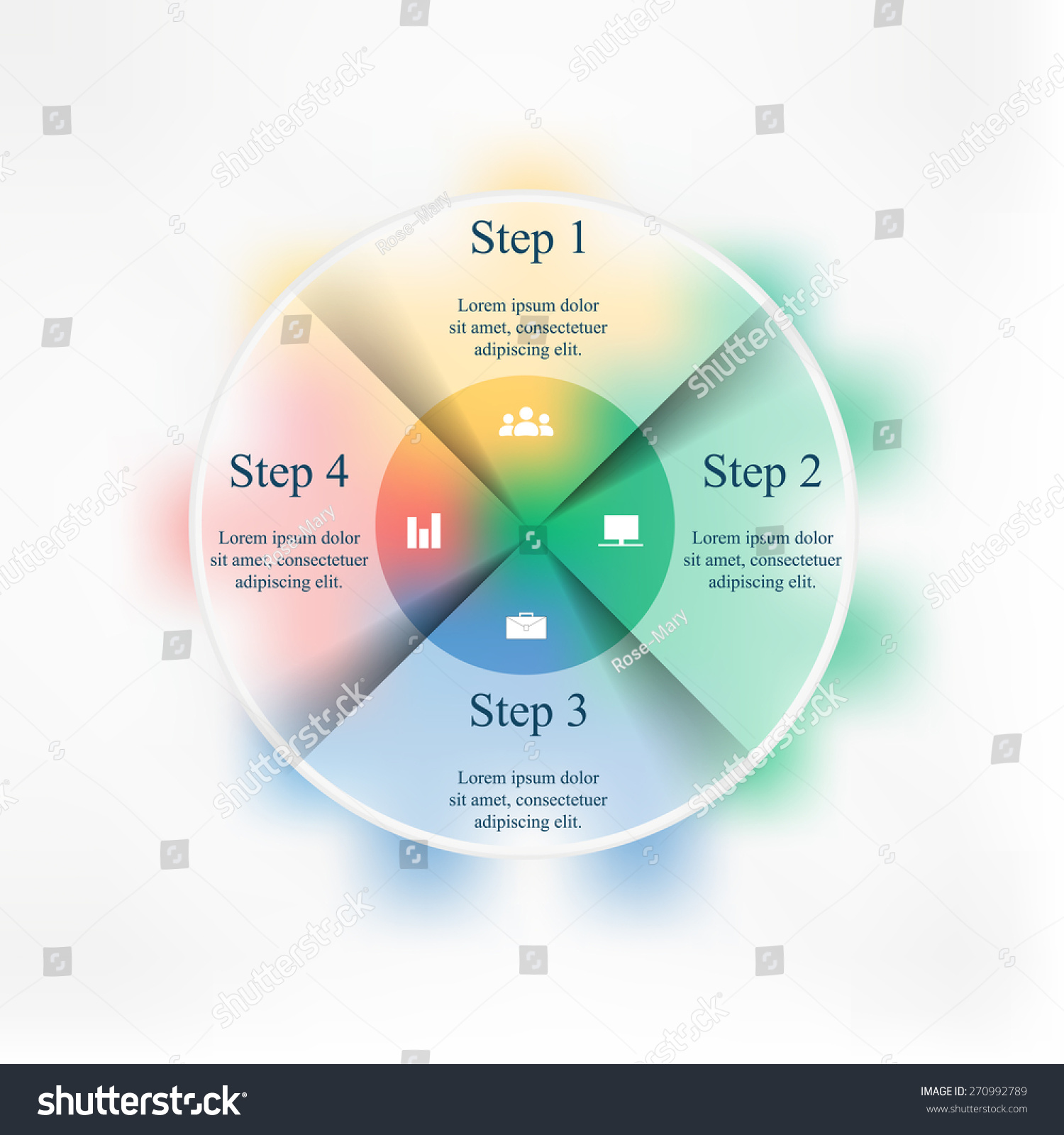 hight resolution of template for cycle diagram graph presentation and round chart business concept with 4 options parts steps or processes blur vector background