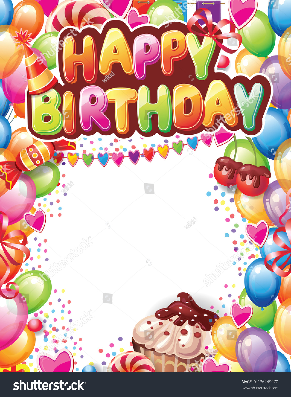 Template For Happy Birthday Card Stock Vector Illustration