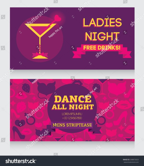 Template Ladies Night Party Invitation Vector Stock