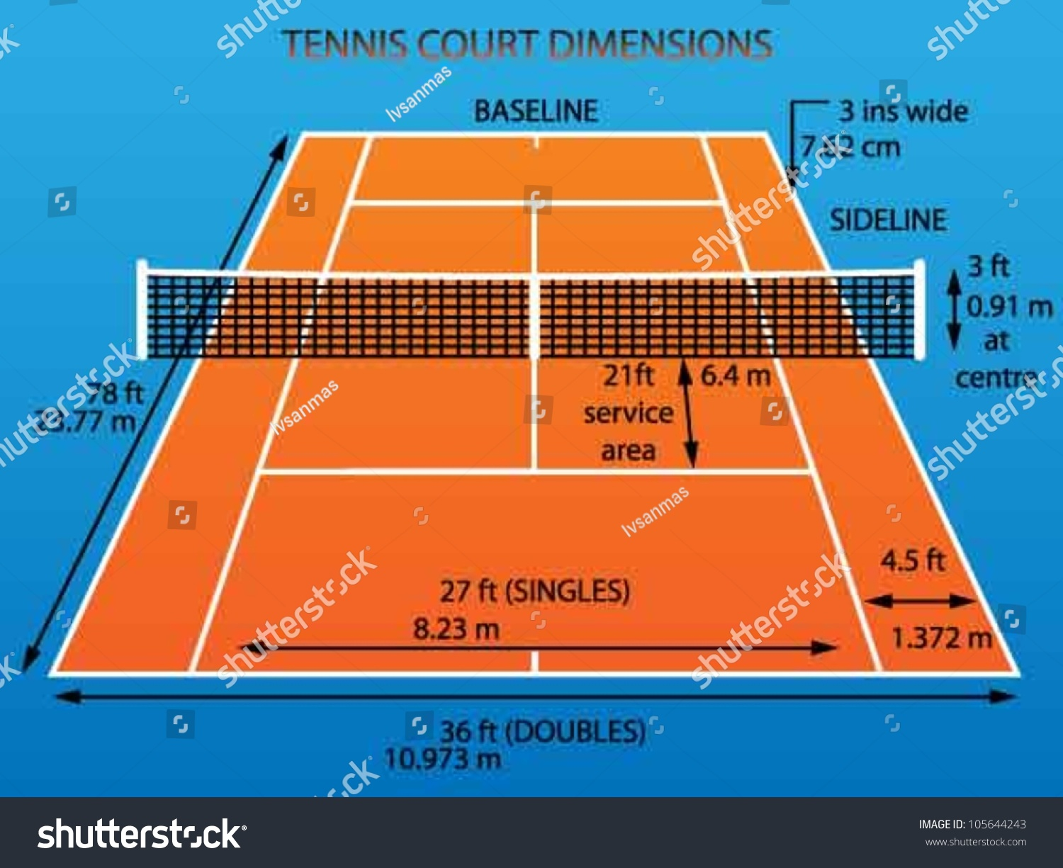 measurement of tennis court with diagram mercruiser mechanical fuel pump dimensions clay stock vector 105644243