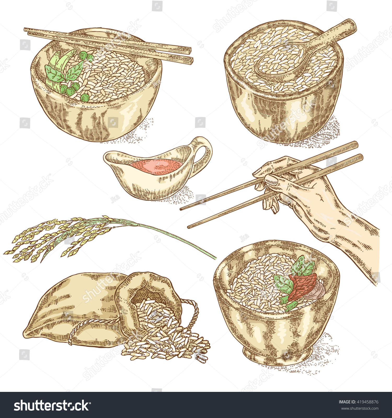 hight resolution of thai jasmine rice in a bowl hand with chopsticks hand drawn rice set vector illustration in sketch style vector
