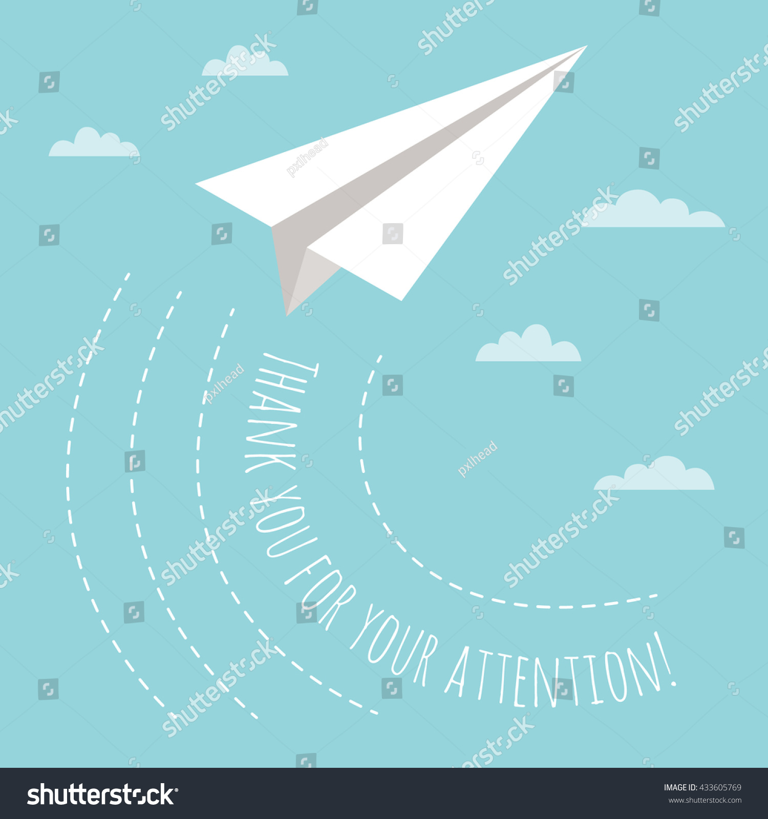 Thank You For Your Attention Concept With Illustration Of Paper Plane And Clouds. Creative Idea For The End Of Business Presentation. - 433605769 ...