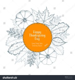 thanksgiving day top view vector illustration autumn label hand drawn autumn leaves and pumpkin [ 1500 x 1600 Pixel ]