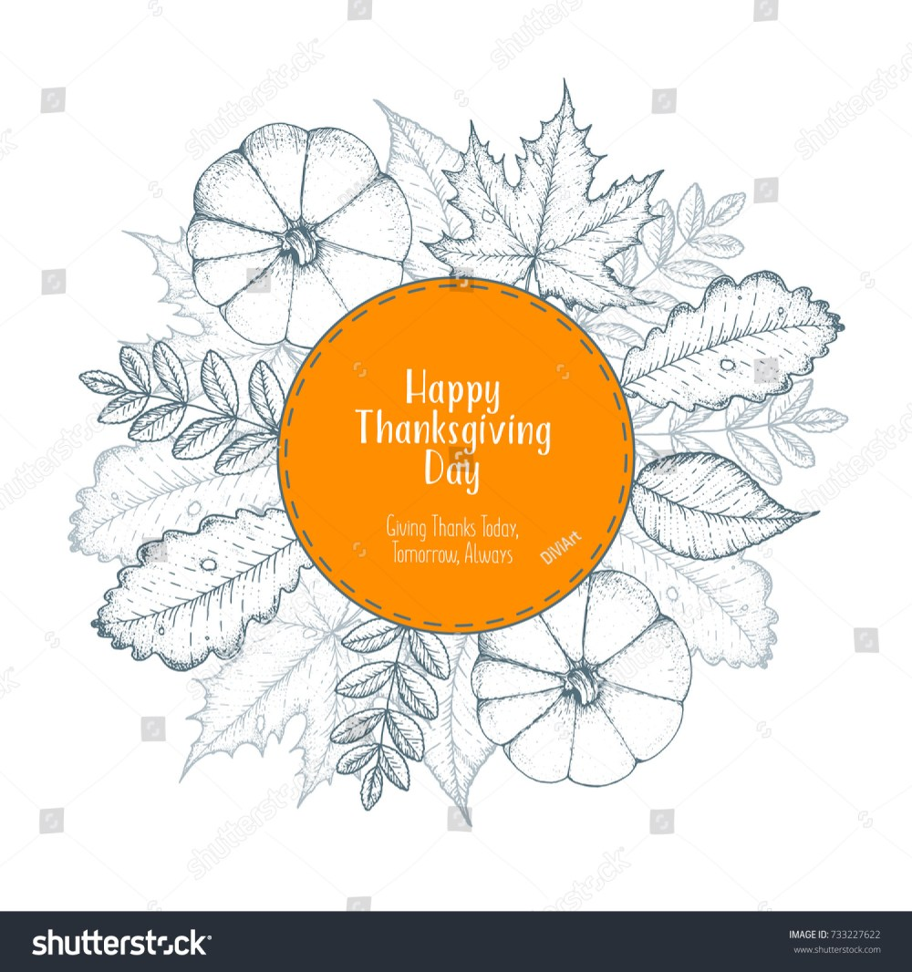 medium resolution of thanksgiving day top view vector illustration autumn label hand drawn autumn leaves and pumpkin