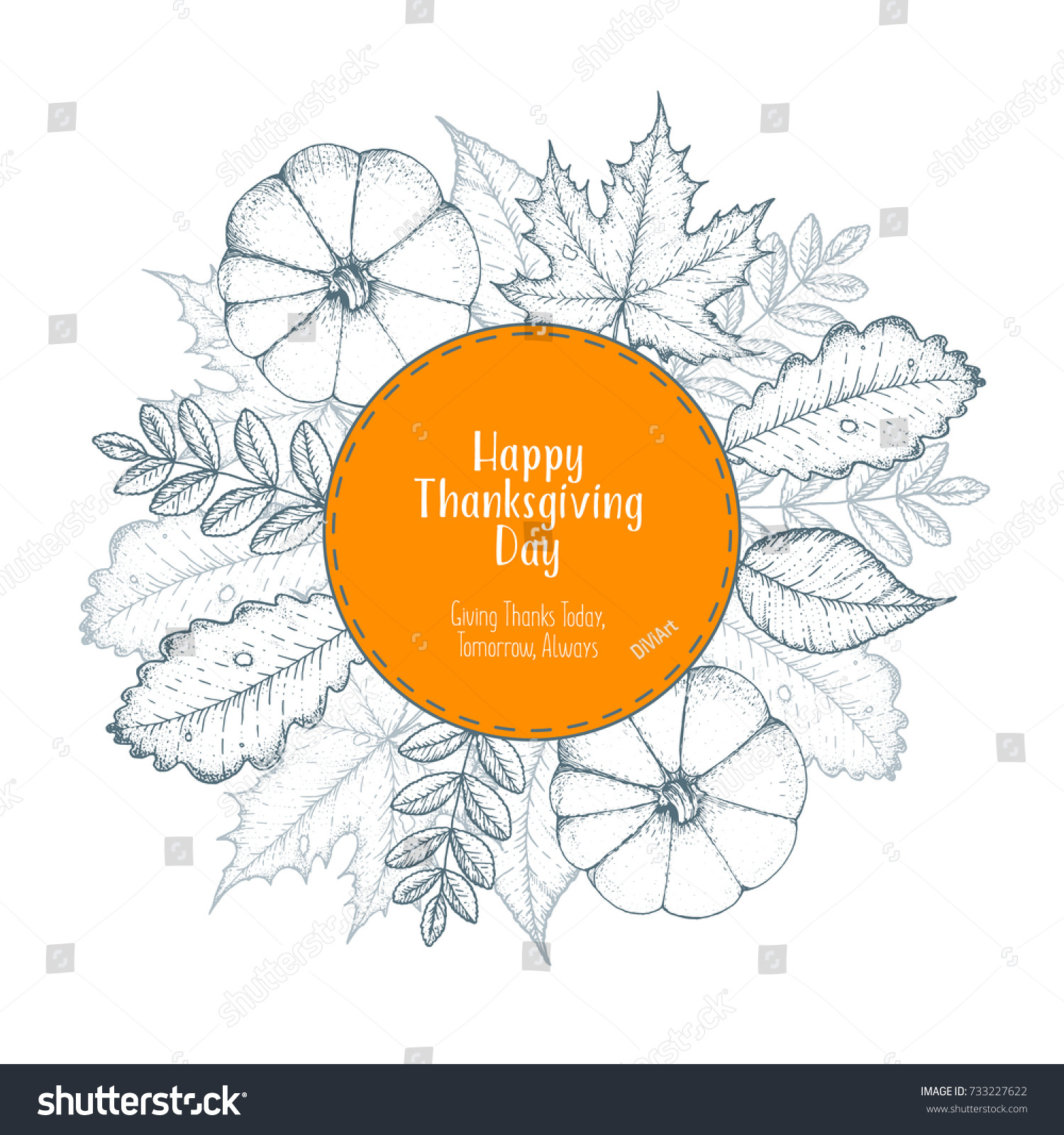 hight resolution of thanksgiving day top view vector illustration autumn label hand drawn autumn leaves and pumpkin