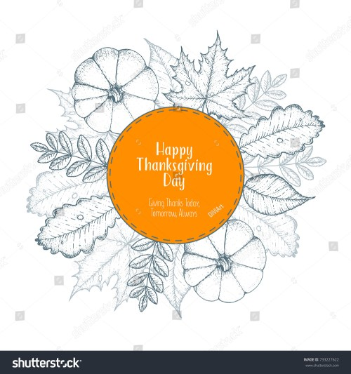 small resolution of thanksgiving day top view vector illustration autumn label hand drawn autumn leaves and pumpkin