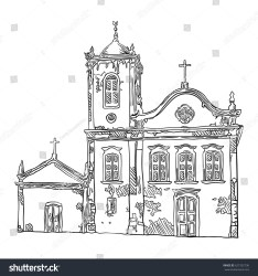 church drawing building medieval hand illustration vector shutterstock footage vectors illustrations music