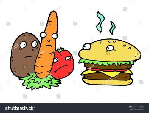 small resolution of the concept of vegetables and hamburger competition calling for human to choose between healthy and