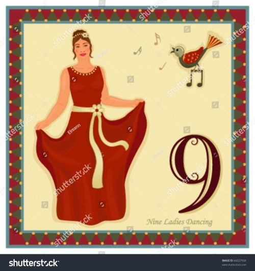small resolution of the 12 days of christmas 9 th day nine ladies dancing vector illustration