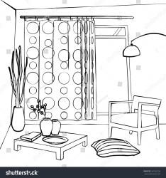 simple sketch interior room dining curtains shutterstock vector