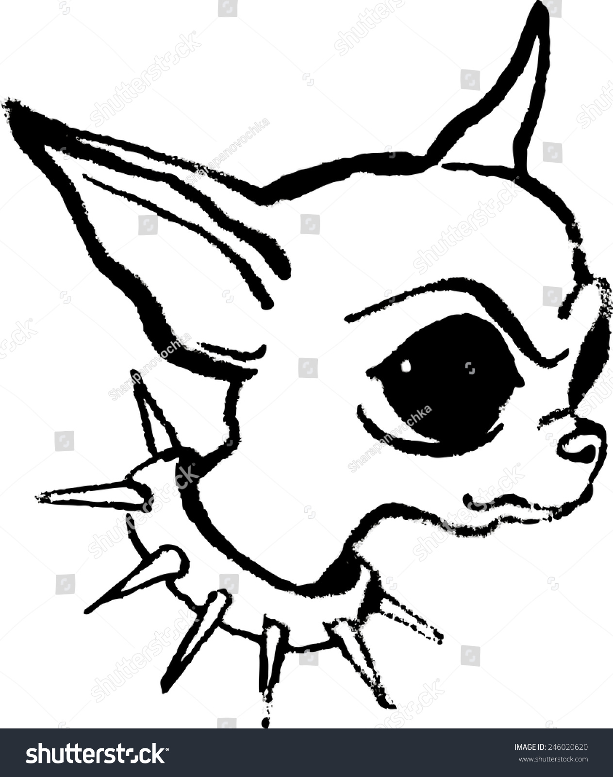 dog diagram outline large wu tang clan 8 diagrams head angry chihuahua big ears stock vector 246020620