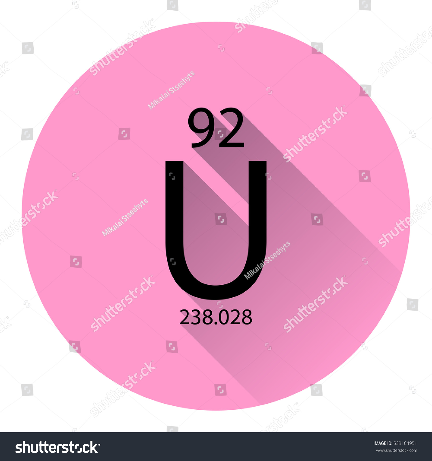 hight resolution of the periodic table element uranium with the basic properties flat style with long shadow
