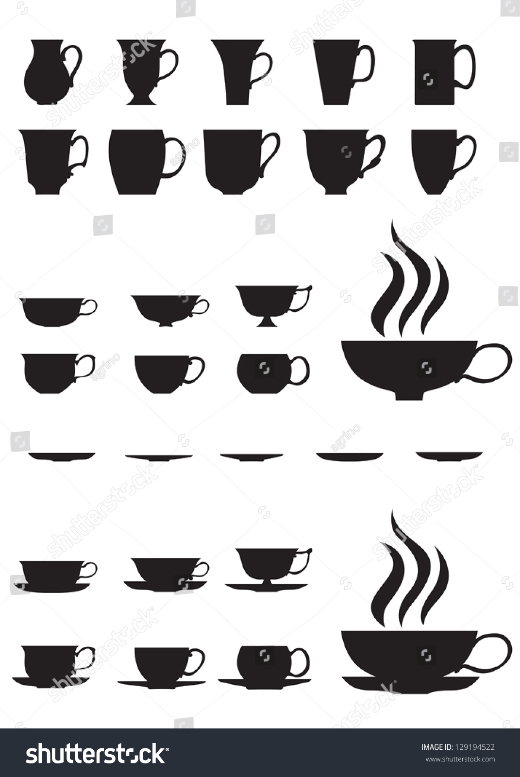 The Silhouettes Of Large And Small Tea Cups And Saucers