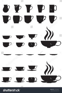 The Silhouettes Of Large And Small Tea Cups And Saucers ...
