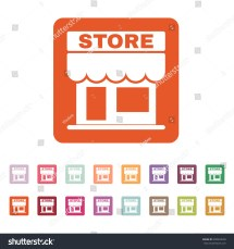 Store Icon. And Retail Market Symbol. Flat