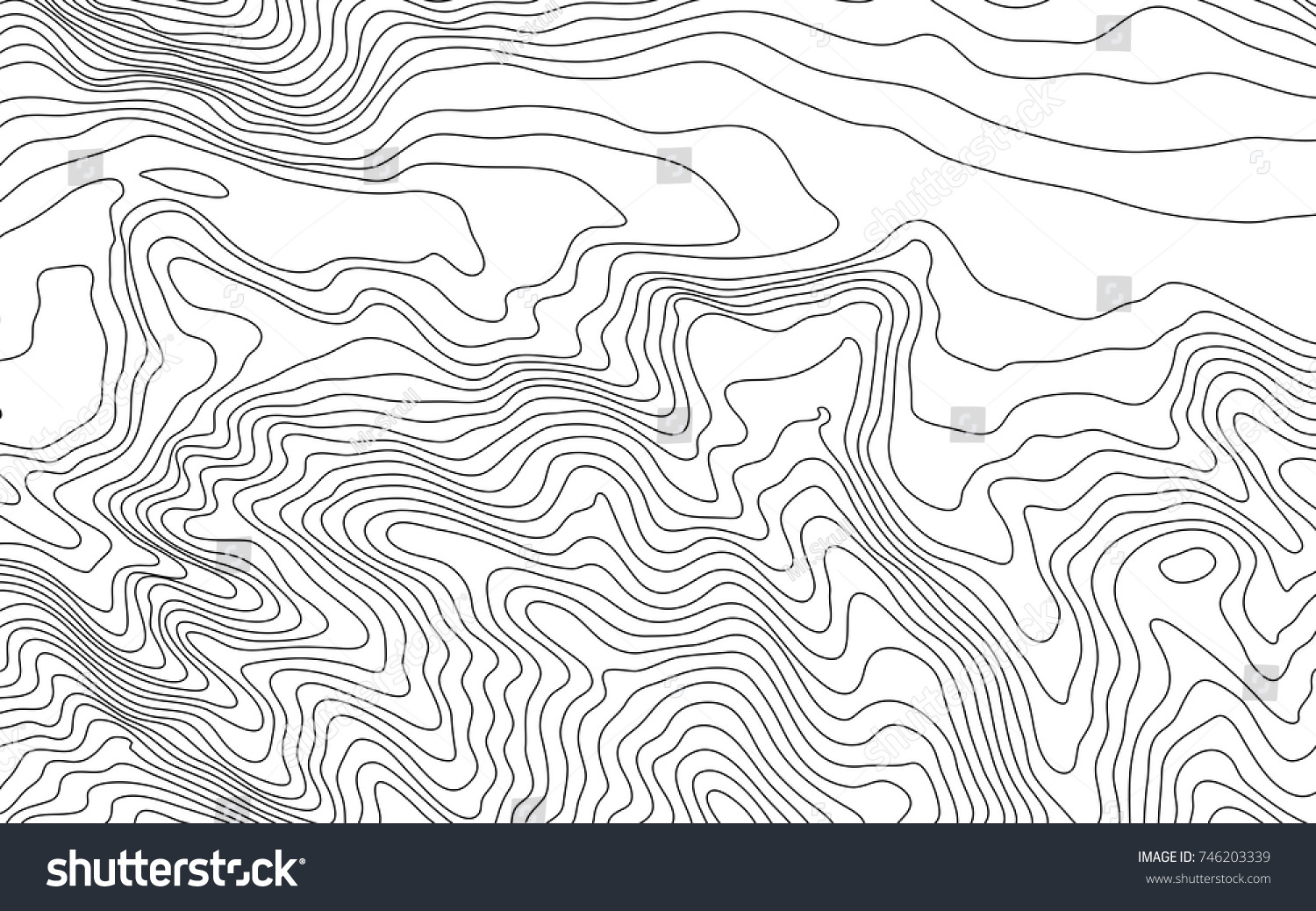 Stylized Height Topographic Map Contour Lines Stock Vector