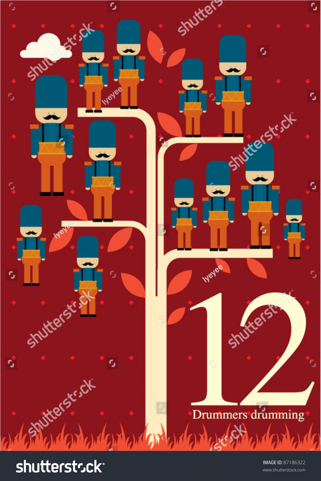 The Twelve Days Of Christmas - Twelfth Day Of Christmas - Twelve Drummers Drumming Stock Vector Illustration 87186322 : Shutterstock