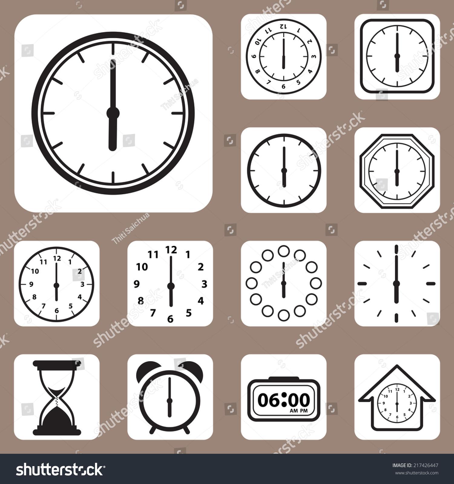 Vector Illustration Set Clock Icon Design Stock Vector
