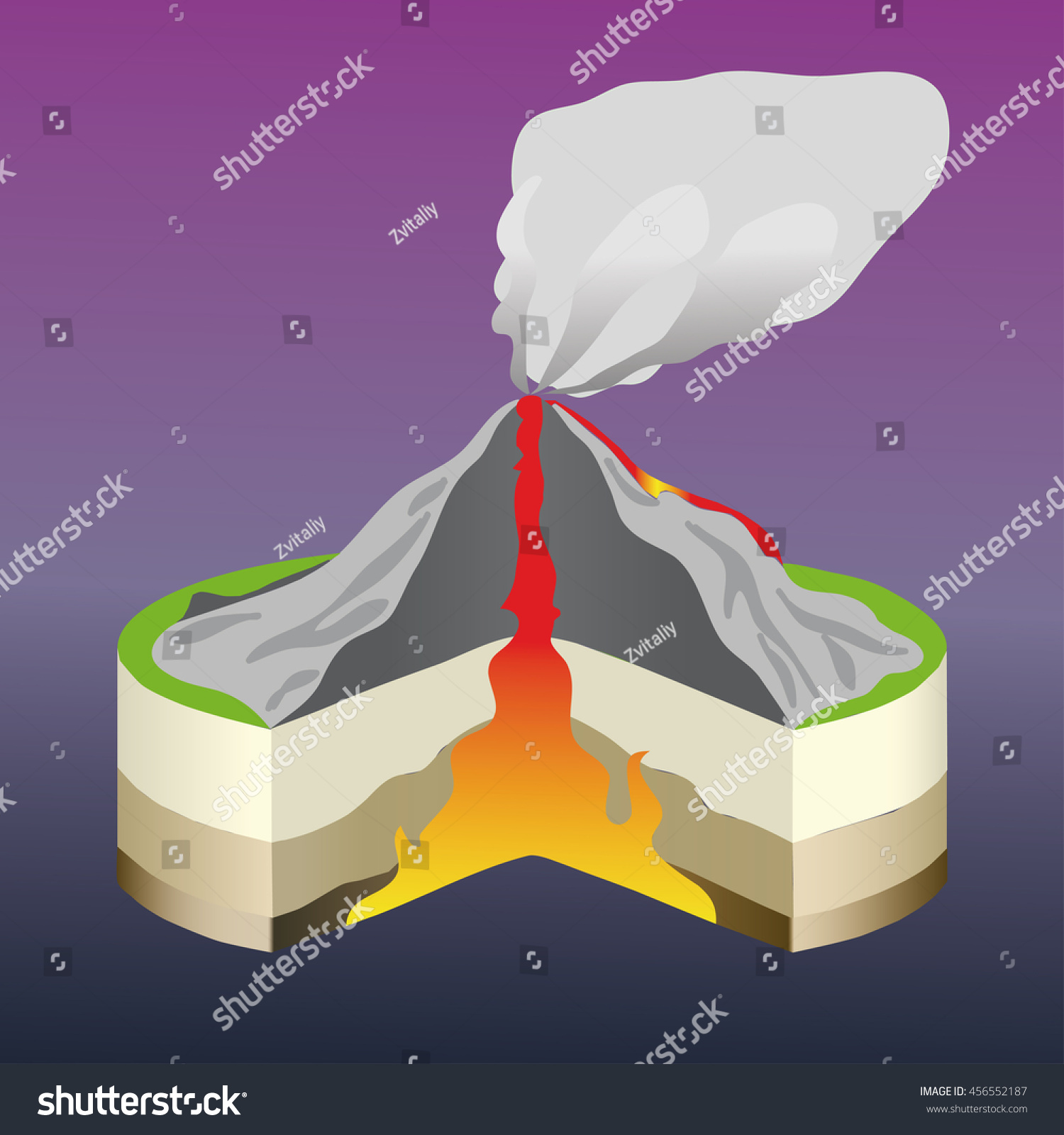 The Volcano Cross Section Stock Vector
