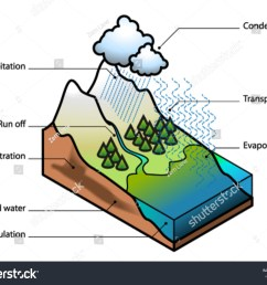 water cycle showing evaporation transpiration condensation [ 1500 x 1204 Pixel ]