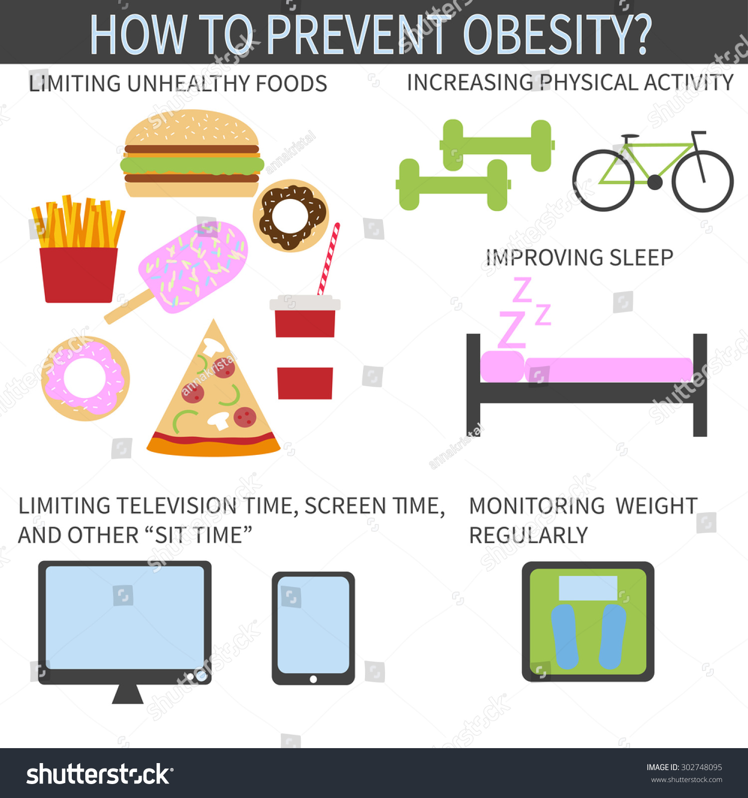 Ways Prevent Obesity Infographic Template Improving Stock Vector