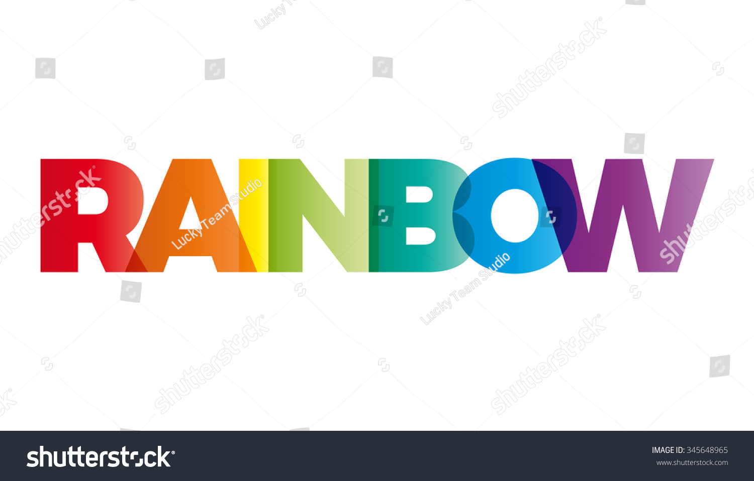 Word Rainbow Vector Banner Text Colored Stock Vector