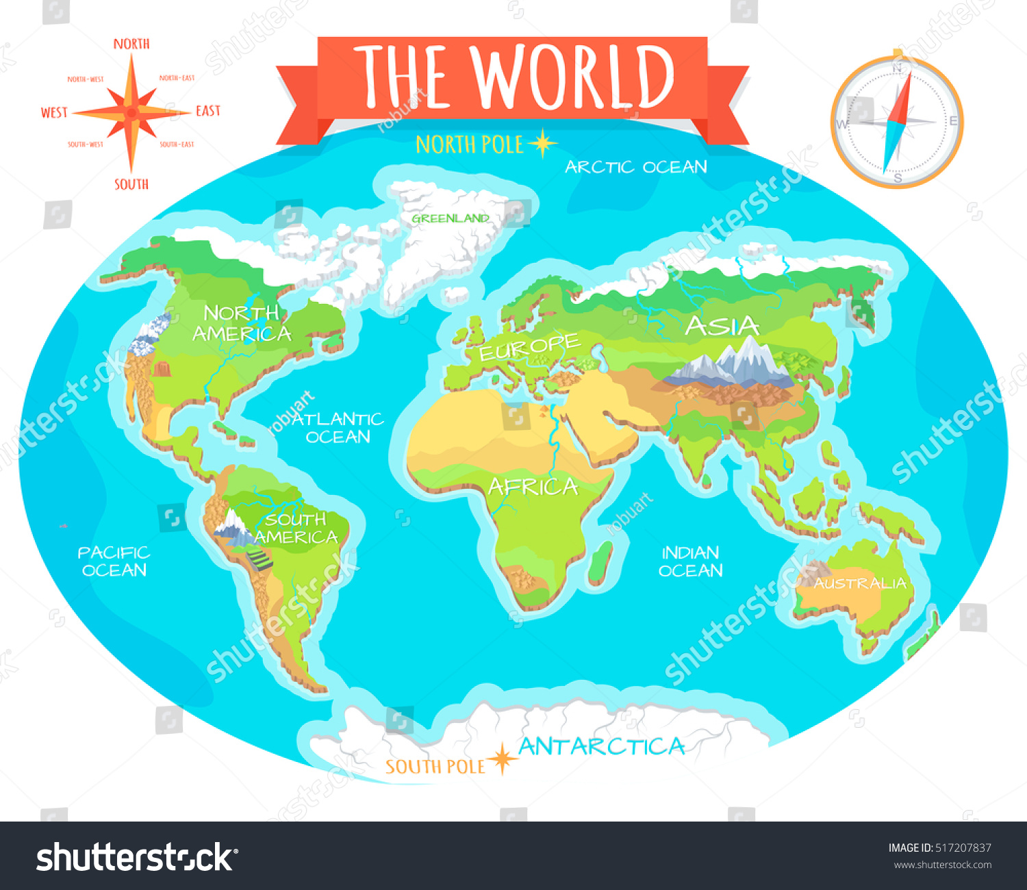 World Geographical Map Names Continents Oceans Stock