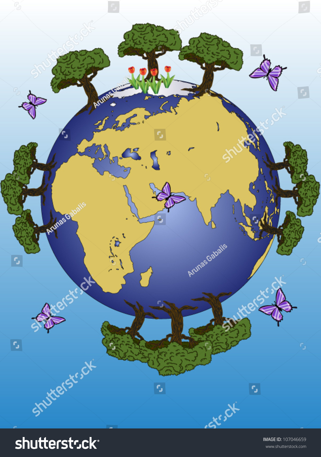 There Earth Planet Continents Stock Vector