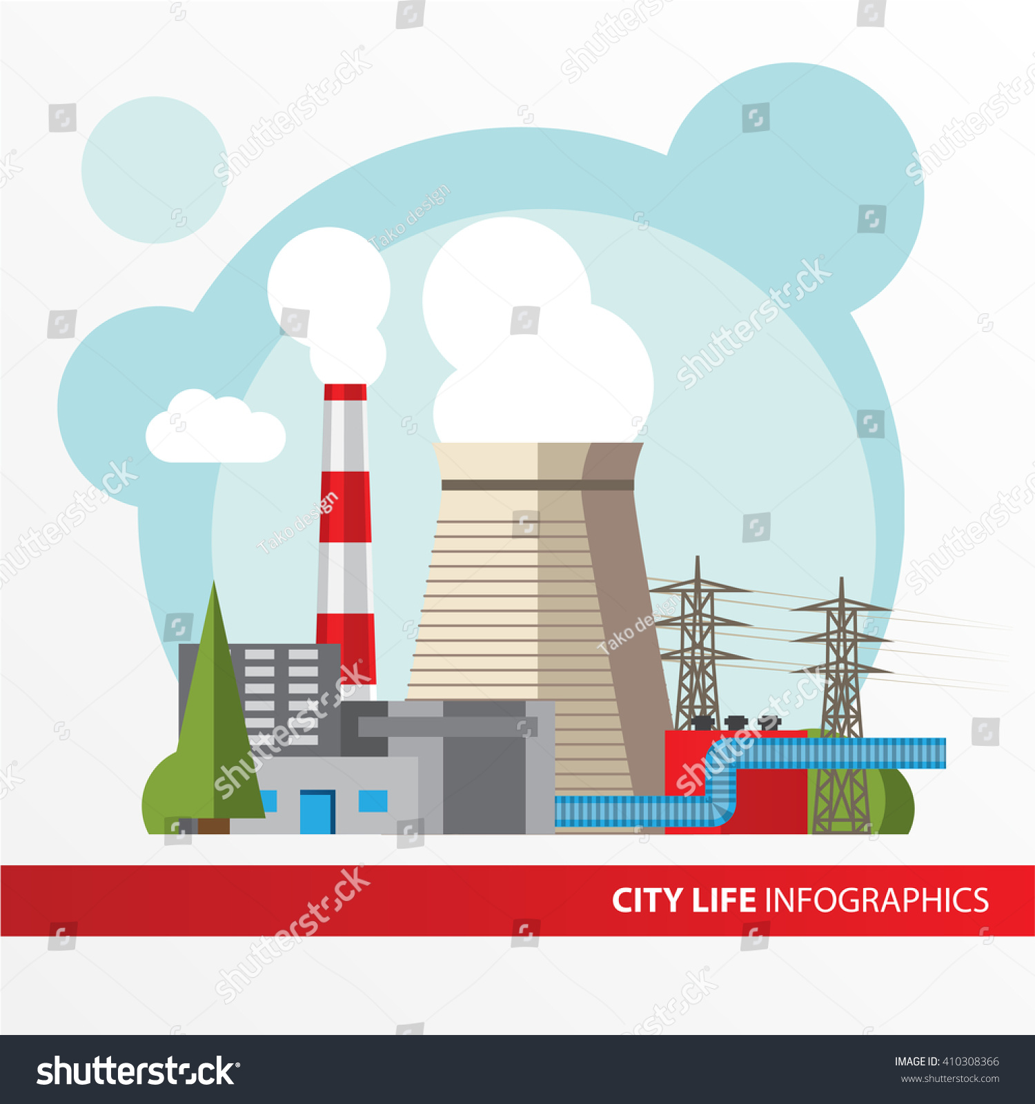 hight resolution of thermal power station colorful illustration in a flat style city infographics set all