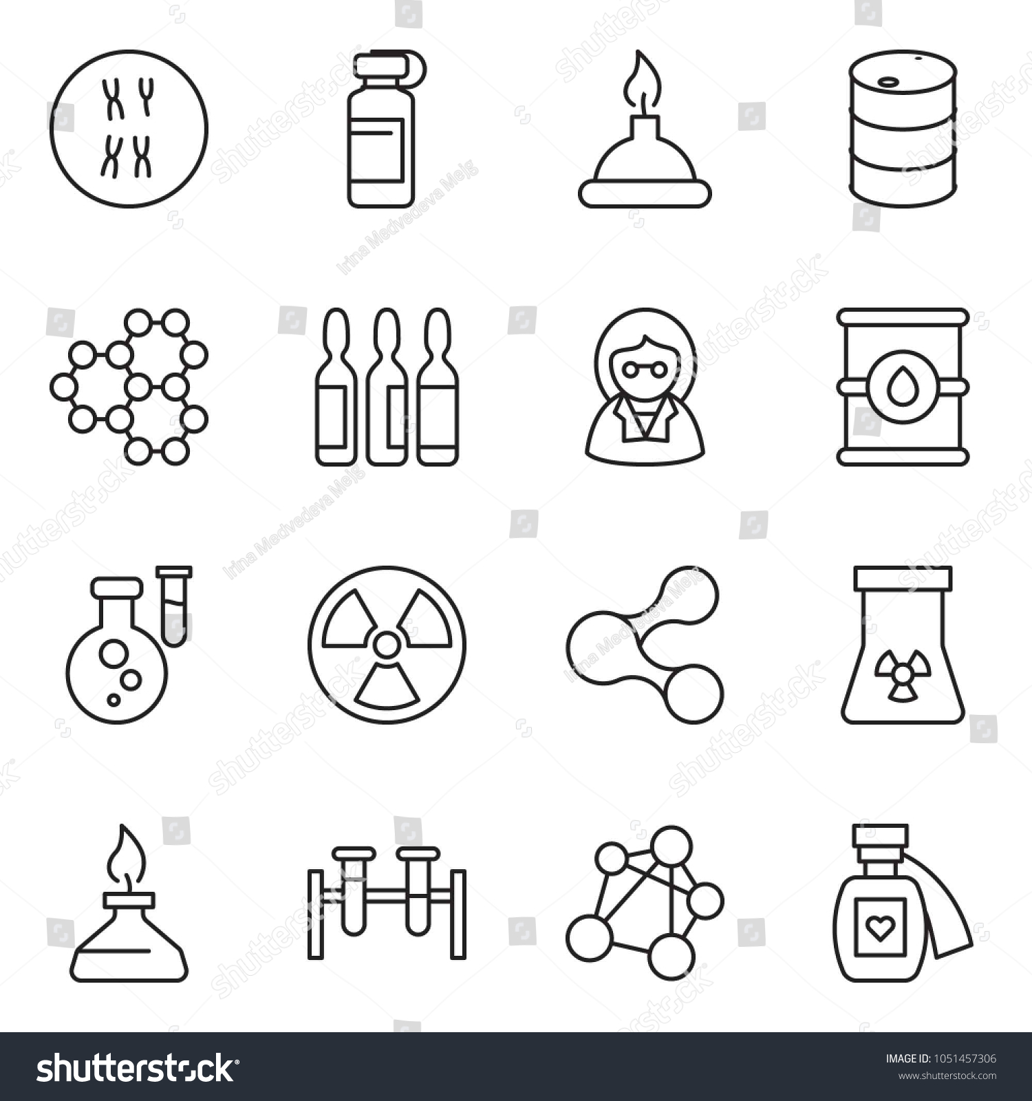 Chromosome Set Thin Line Icon Set Barrel Vector Stock Vector Royalty Free