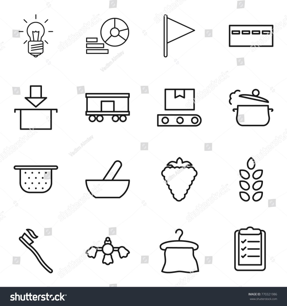 medium resolution of thin line icon set bulb diagram flag bunker package railroad