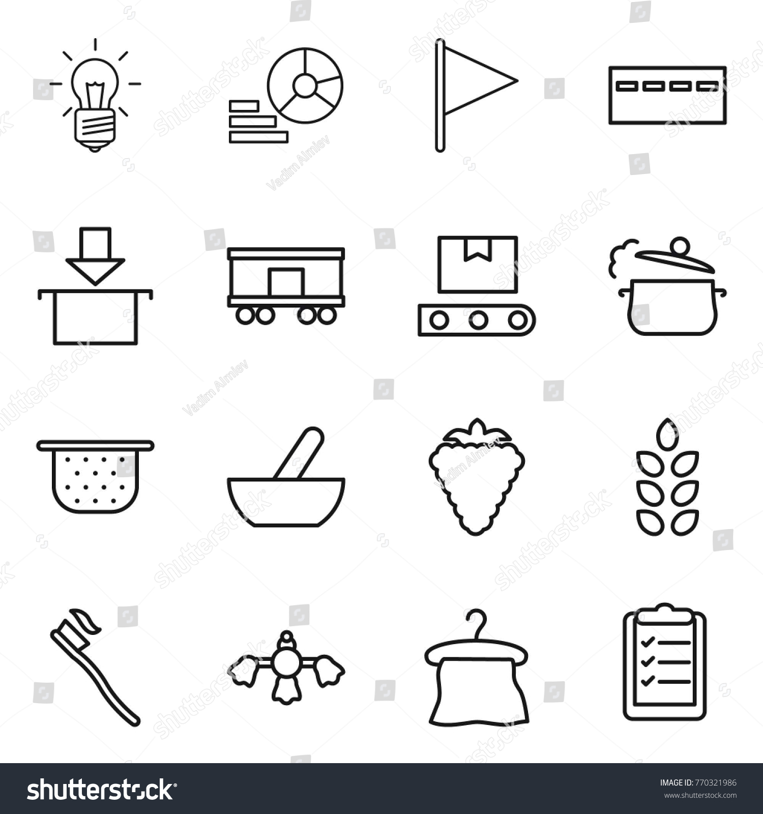 hight resolution of thin line icon set bulb diagram flag bunker package railroad