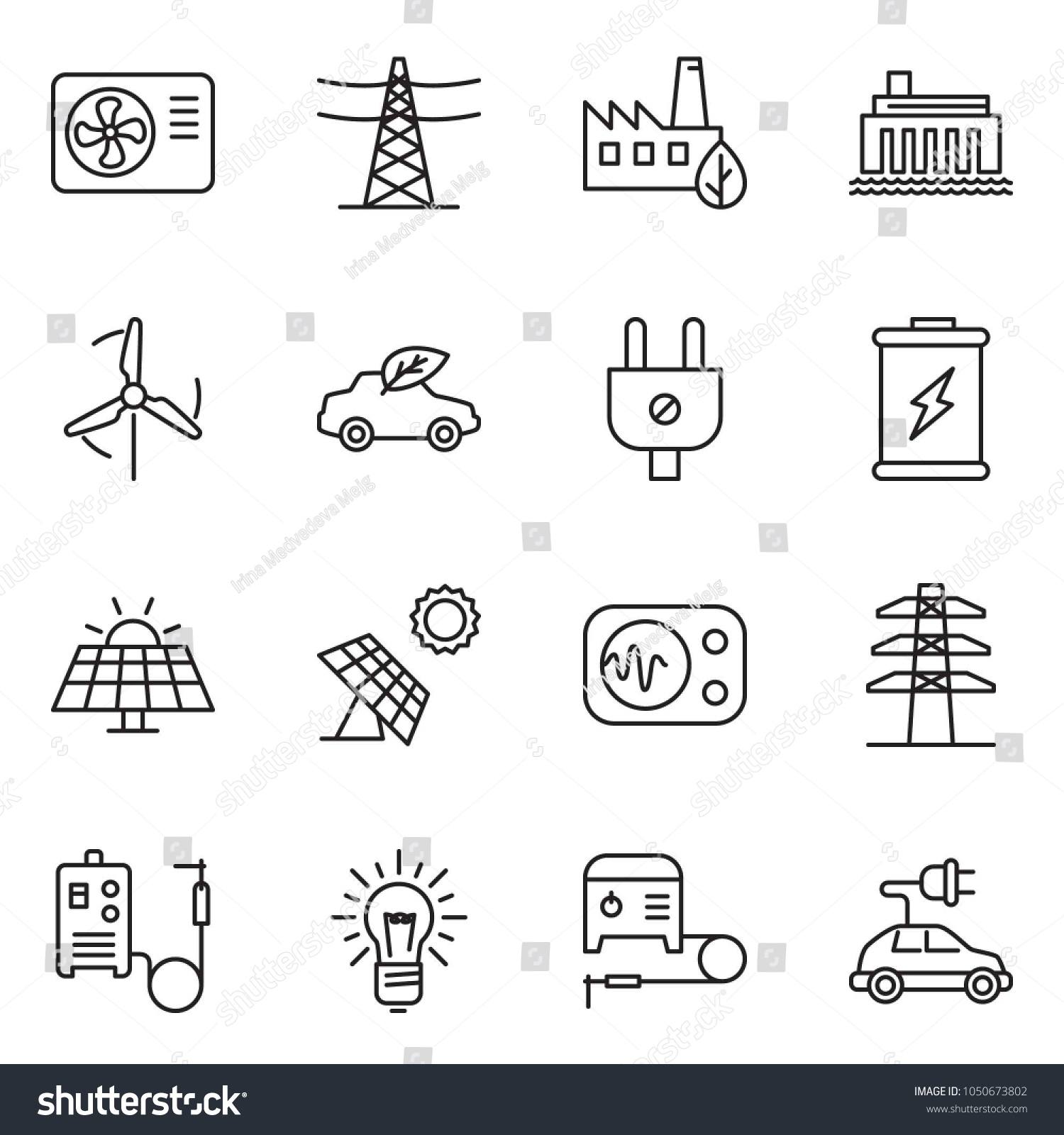 hight resolution of thin line icon set bulb vector air condition welding machine battery