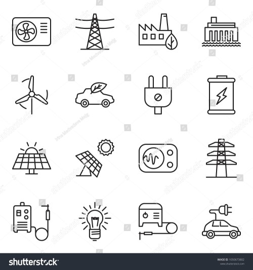 small resolution of thin line icon set bulb vector air condition welding machine battery