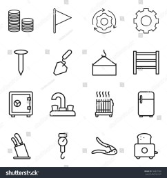thin line icon set coin stack flag around gear nail construction [ 1500 x 1600 Pixel ]