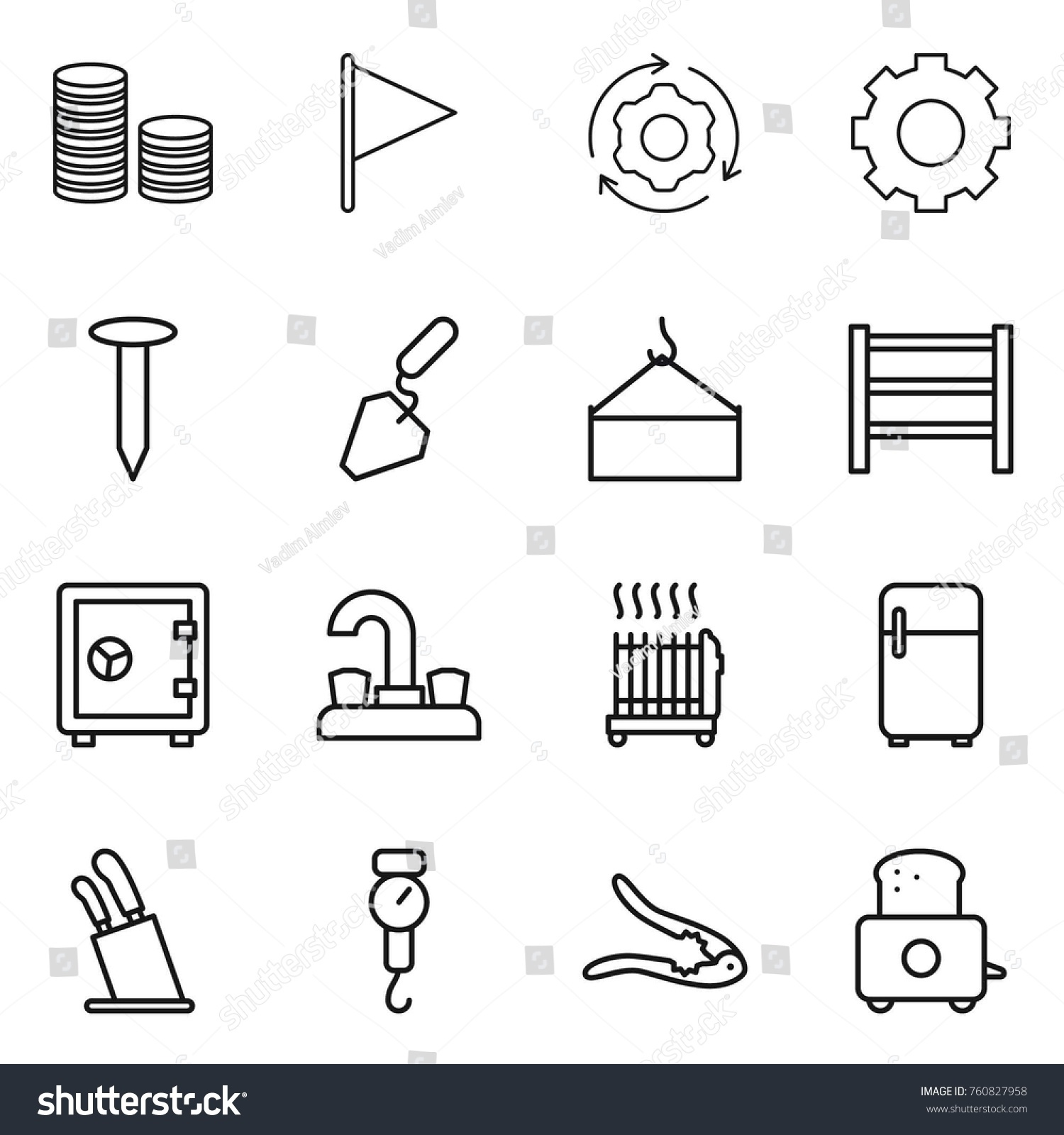 hight resolution of thin line icon set coin stack flag around gear nail construction
