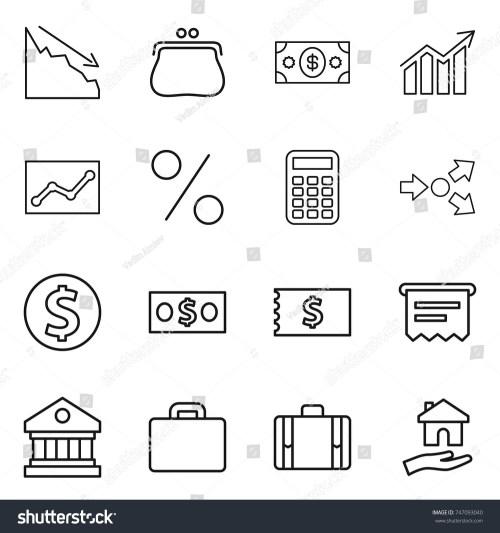 small resolution of thin line icon set crisis purse money diagram statistics percent