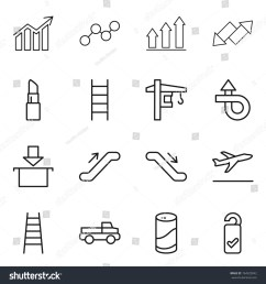 thin line icon set diagram graph up down arrow lipstick stairs tower crane trip package escalator departure pickup cleanser powder  [ 1500 x 1600 Pixel ]