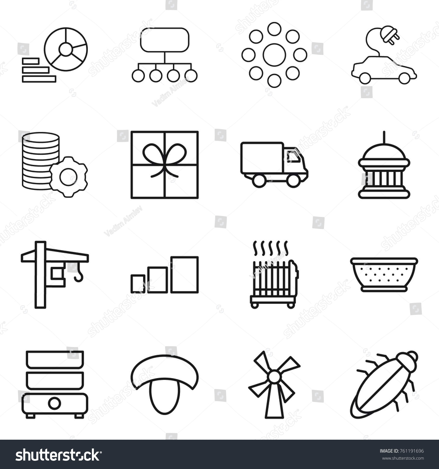 hight resolution of thin line icon set diagram structure round around electric car virtual