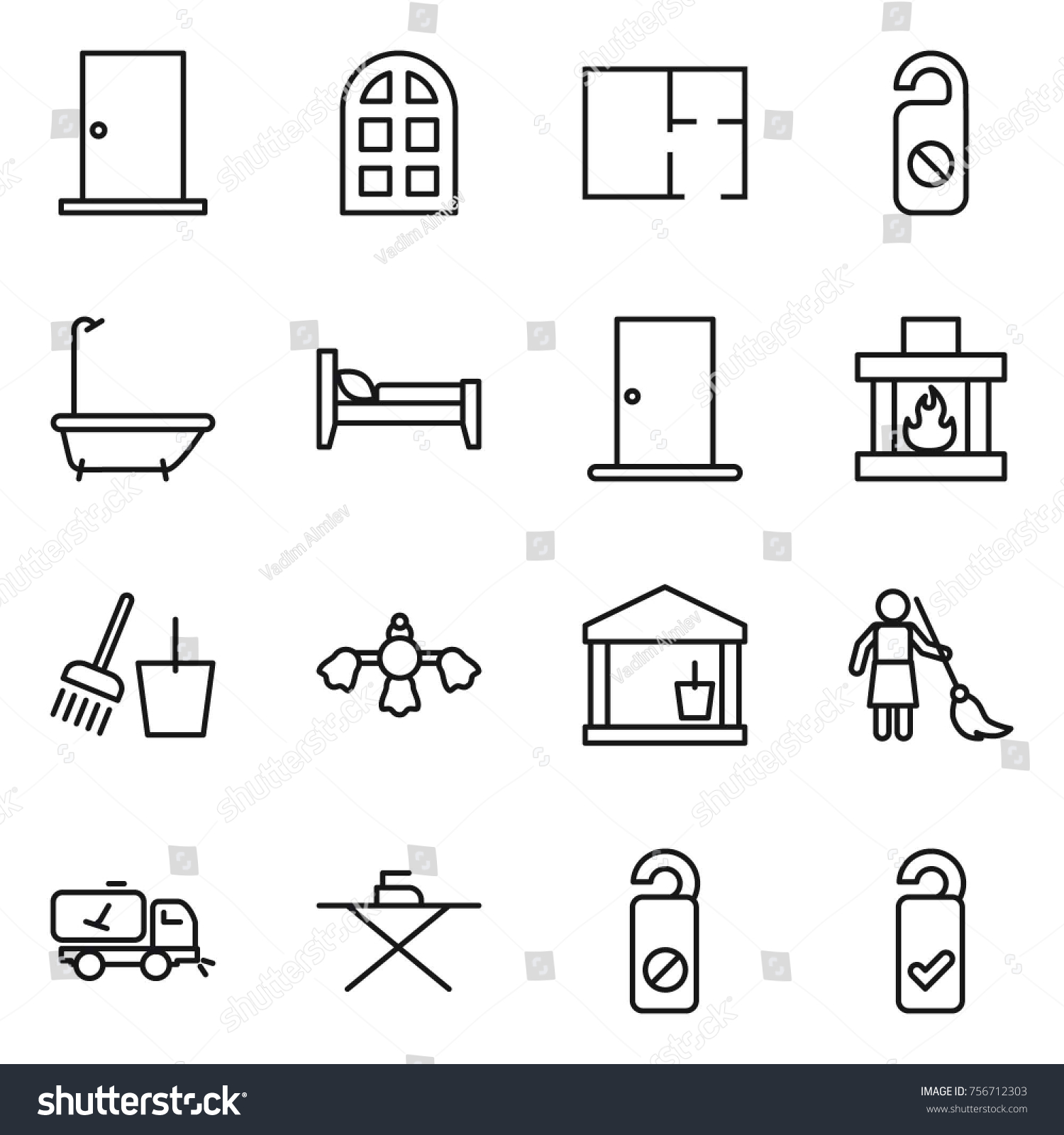 hight resolution of thin line icon set door arch window plan do not distrub